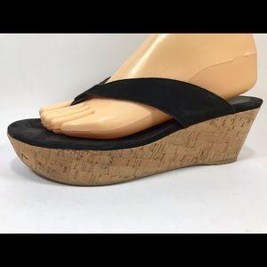 Stuart Weitzman Leather Wedge Flip Flops 8 SS